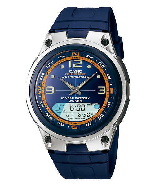 Casio standard aw 82 2av analog digital watch fishing g for Casio fishing watch